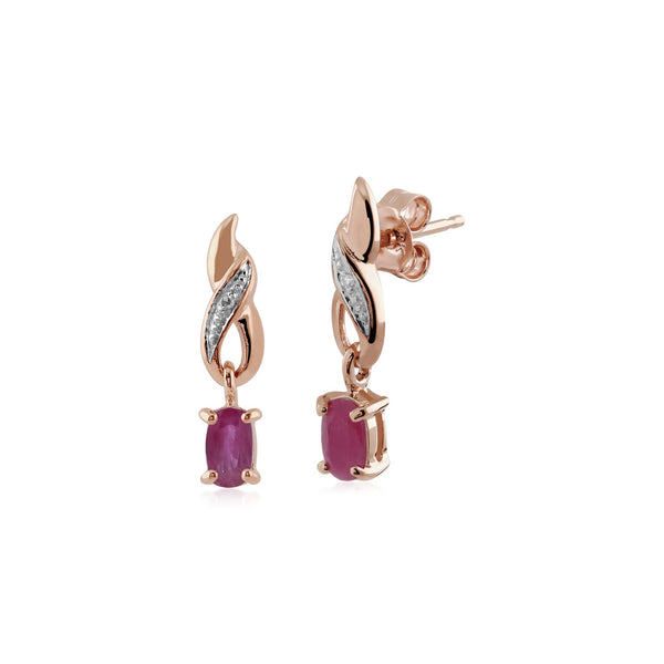 Classic Ruby & Diamond Spiral Drop Earrings Image 1