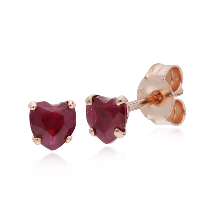 Classic Ruby Heart Stud Earrings Image 1
