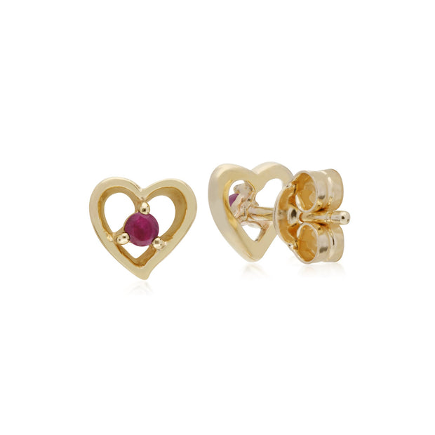 Classic Round Ruby Heart Stud Earrings Image 2