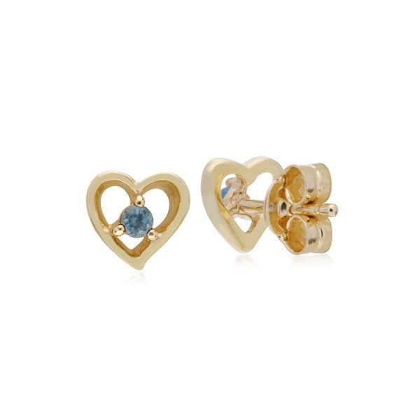 Classic Round Aquamarine Heart Stud Earrings Image 2