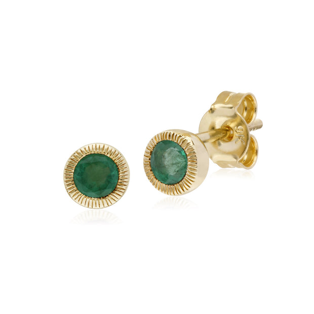 Single Emerald Milgrain Stud Earrings Image 1