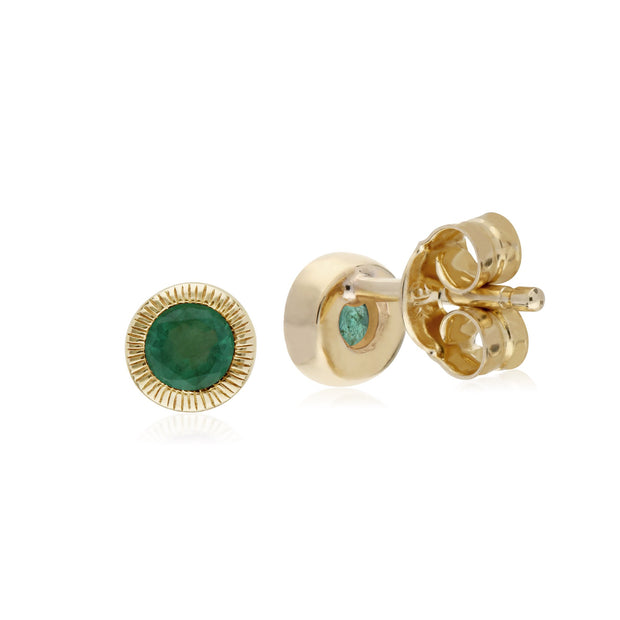 Single Emerald Milgrain Stud Earrings Image 2