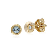 Single Aquamarine Milgrain Stud Earrings Image 2