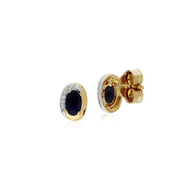Classic Sapphire & Diamond Stud Earrings Image 2