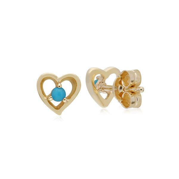 Classic Round Turquoise Heart Stud Earrings Image 2