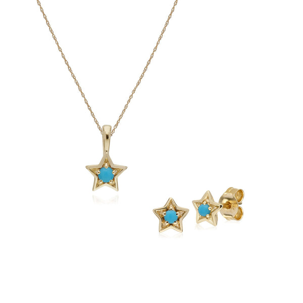 Contemporary Turquoise Star Earrings & Necklace Set Image 1