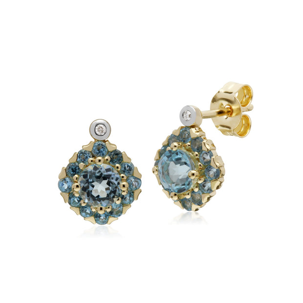 Classic Blue Topaz Cluster Stud Earrings Image 1