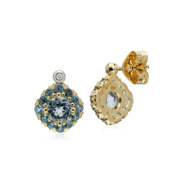 Classic Blue Topaz Cluster Stud Earrings Image 2