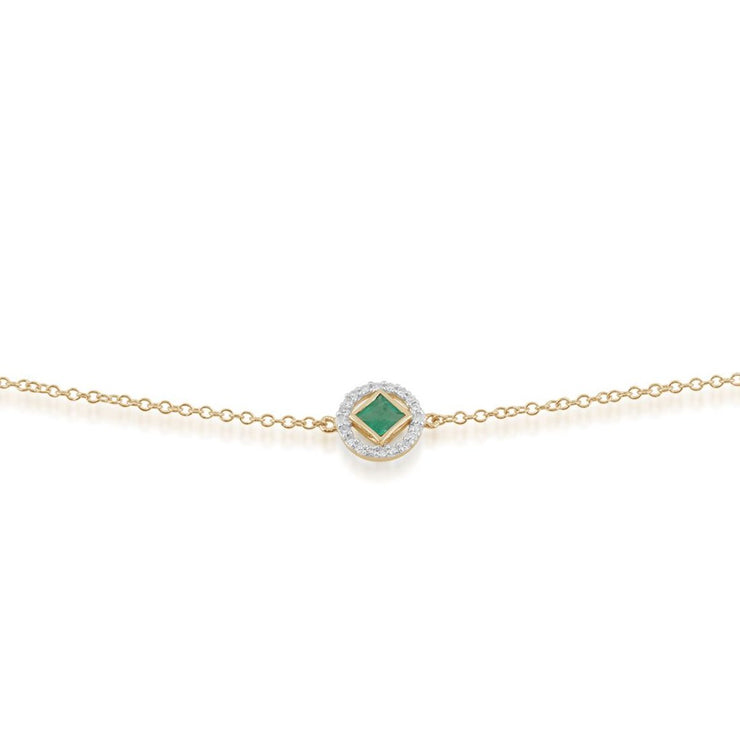 Classic Square Emerald & Diamond Halo Emerald Image 1