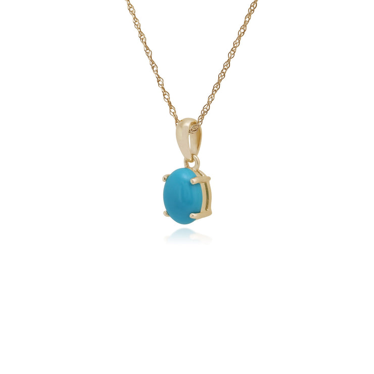 Classic Cabochon Turquoise Pendant on Chain Image 2