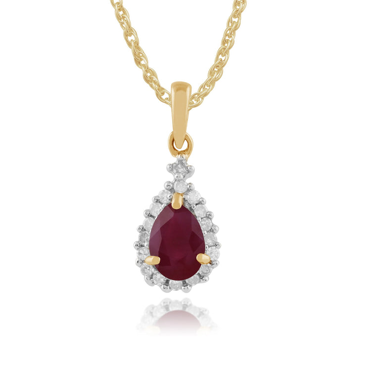 Classic Ruby & Diamond Cluster Pendant on Chain Image 1