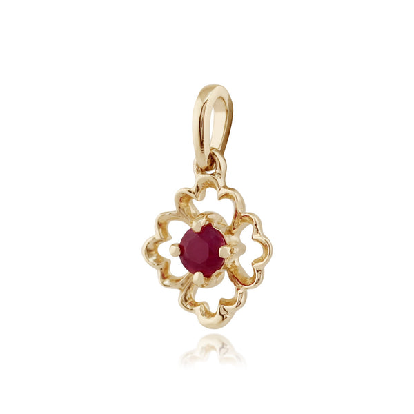 Floral Ruby Pendant on Chain Image 2