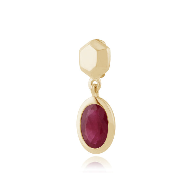 Classic Oval Ruby Bezel Drop Pendant Image 2