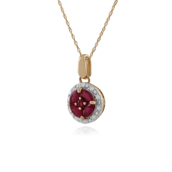 Classic Ruby & Diamond Halo Cluster Pendant Image 2
