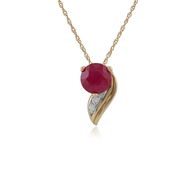 Yellow Gold Ruby & Diamod Pendant Necklace Image 1