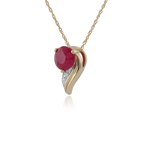Yellow Gold Ruby & Diamod Pendant Necklace Image 2