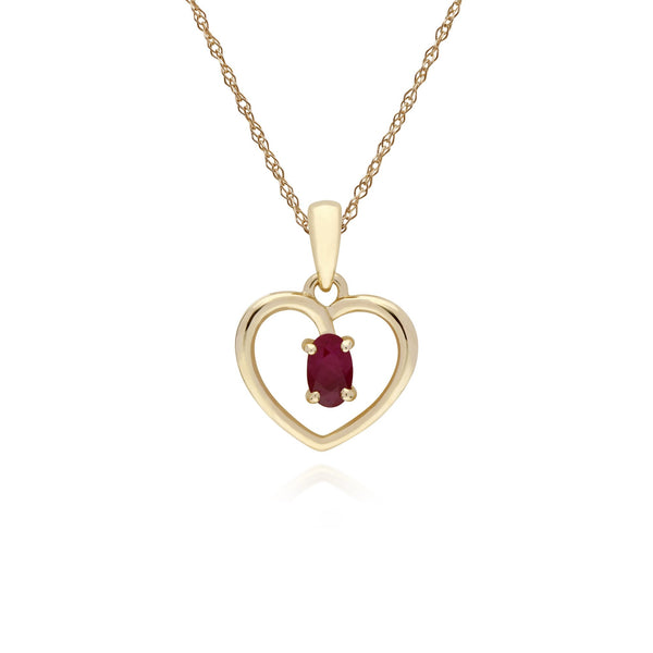 Classic Ruby Heart Pendant Necklace Image 1
