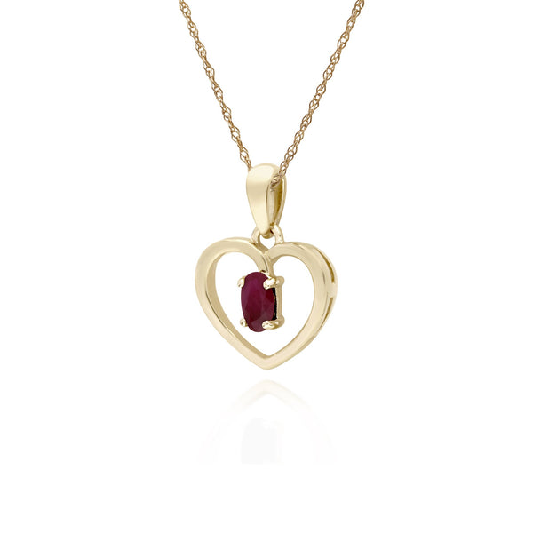Classic Ruby Heart Pendant Necklace Image 2