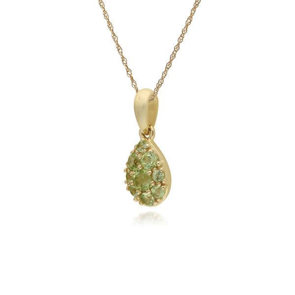Classic Pear Peridot Cluster Pendant Necklace Image 2