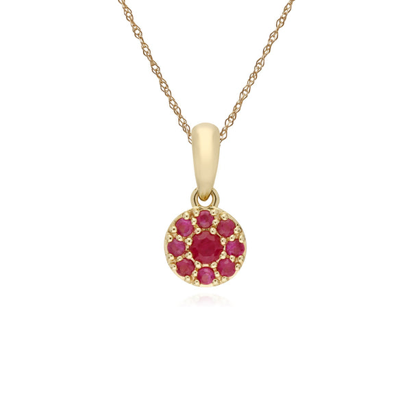 Classic Ruby Cluster Pendant Necklace Image 1