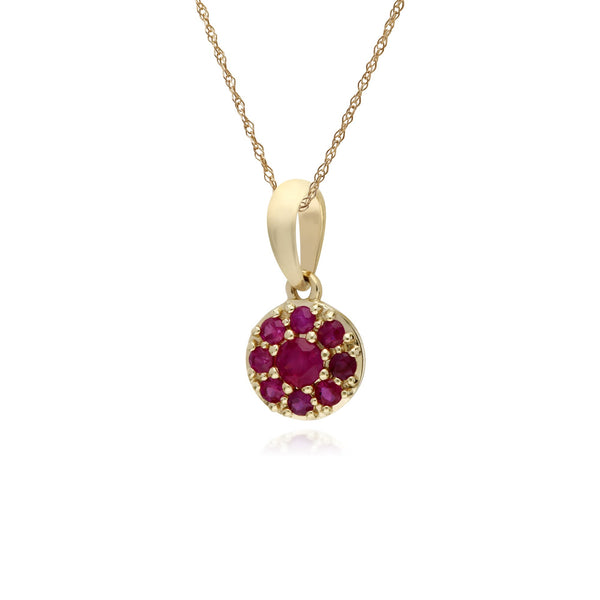Classic Ruby Cluster Pendant Necklace Image 2