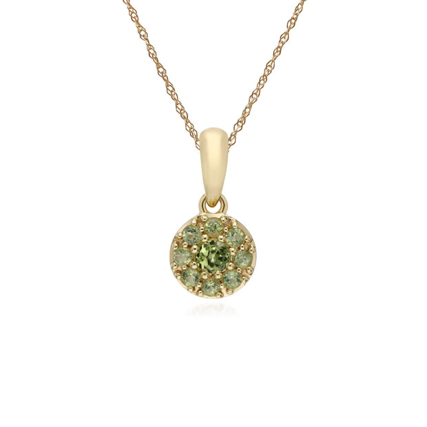 Classic Peridot Cluster Pendant Necklace Image 1