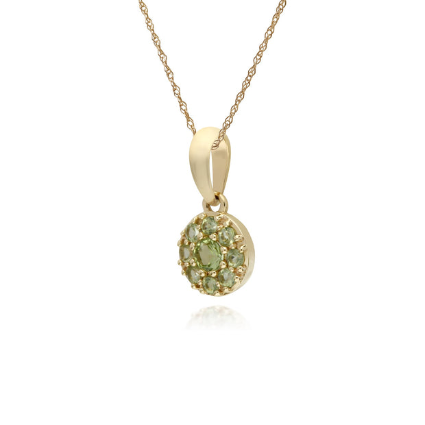 Classic Peridot Cluster Pendant Necklace Image 2