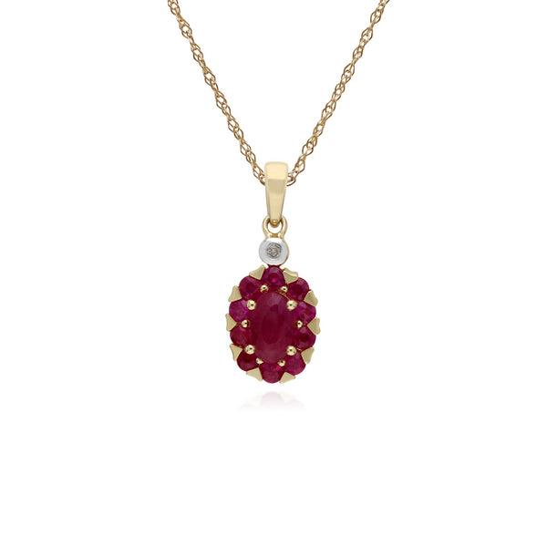 Classic Oval Ruby Cluster Pendant Necklace Image 1