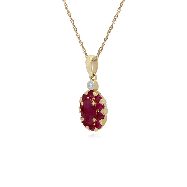 Classic Oval Ruby Cluster Pendant Necklace Image 2