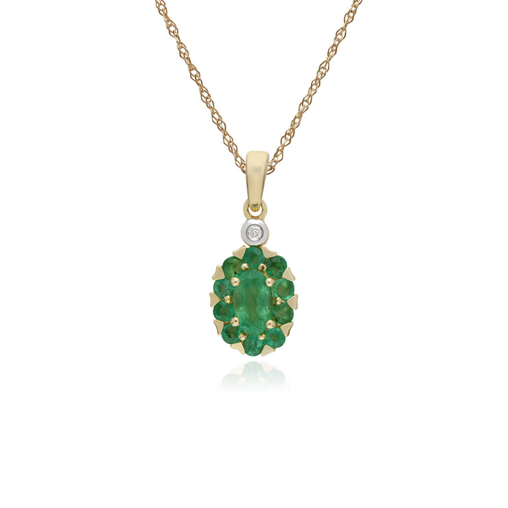 Classic Oval Emerald Cluster Pendant Necklace Image 1