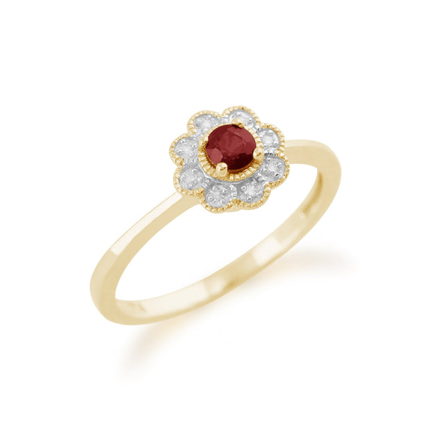 Gemondo 9ct Yellow Gold 0.24ct Ruby & Diamond Floral Ring Image 2