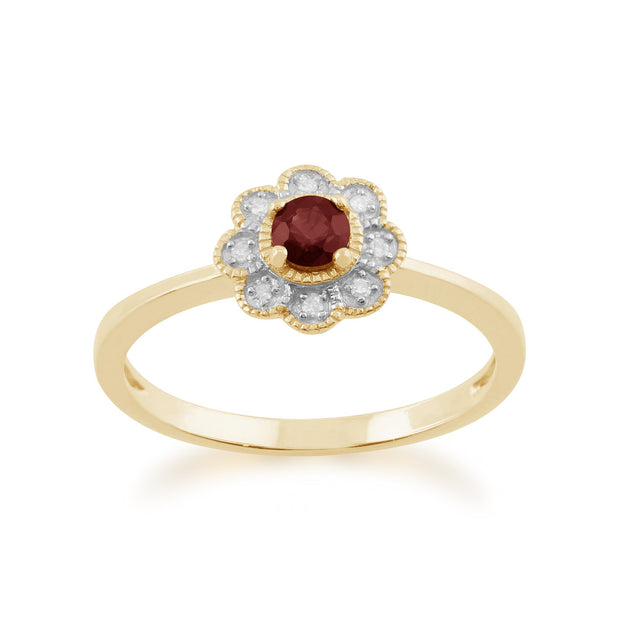 Gemondo 9ct Yellow Gold 0.24ct Ruby & Diamond Floral Ring Image 1