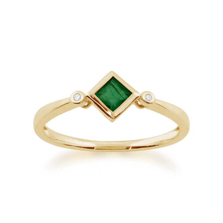 Geometric Emerald and Diamond Ring Image 1