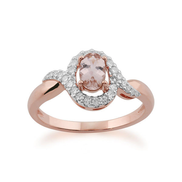 Morganite and Diamond Twist Halo Ring Image 1