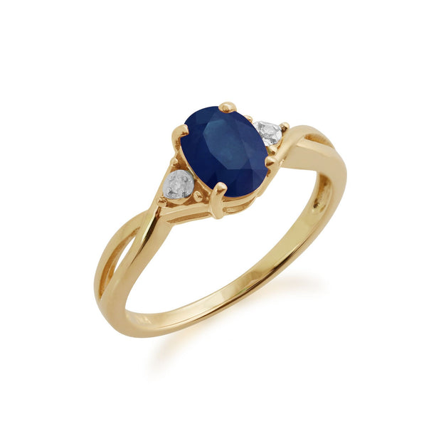 Gemondo 9ct Yellow Gold 1.11ct Sapphire & Diamond Ring Image 1