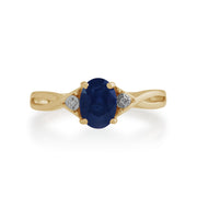 Gemondo 9ct Yellow Gold 1.11ct Sapphire & Diamond Ring Image 2