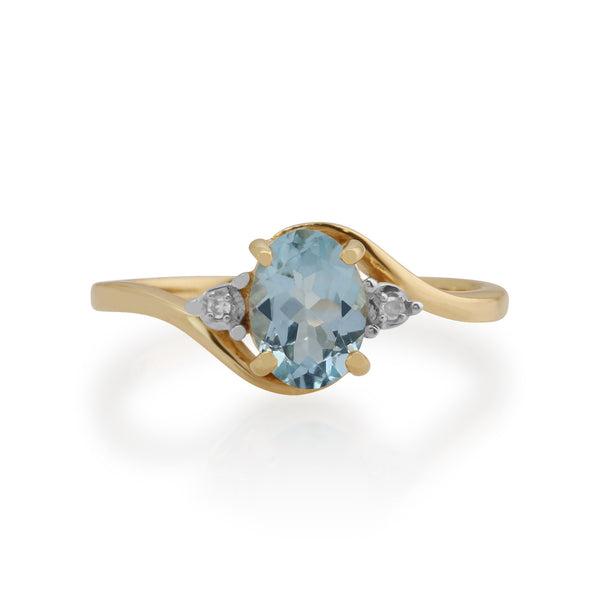 Gemondo 9ct Yellow Gold 0.67ct Aquamarine & Diamond Ring Image 2