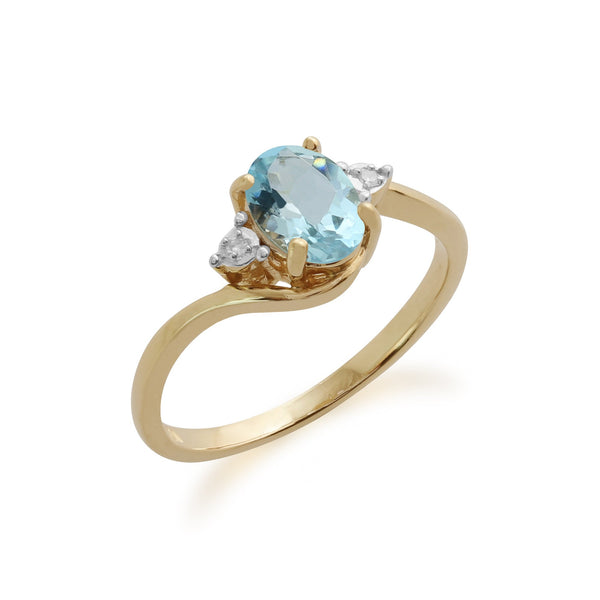 Gemondo 9ct Yellow Gold 0.67ct Aquamarine & Diamond Ring Image 1