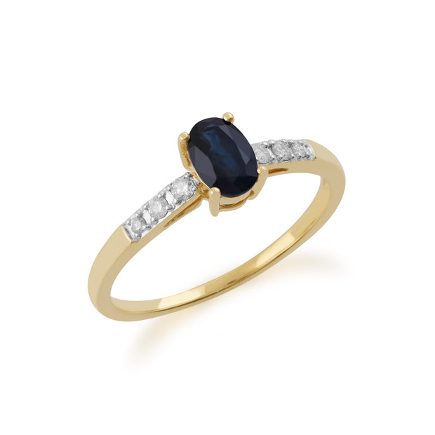 Gemondo 9ct Yellow Gold Sapphire & Diamond Oval Cut Solitaire Ring Image 2