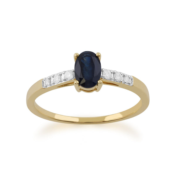 Gemondo 9ct Yellow Gold Sapphire & Diamond Oval Cut Solitaire Ring Image 1