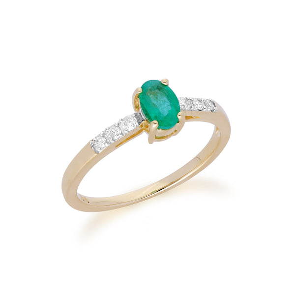 Gemondo 9ct Yellow Gold Emerald & Diamond Oval Cut Solitaire Ring Image 2