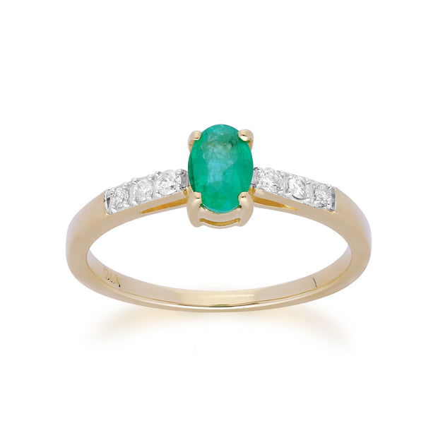 Gemondo 9ct Yellow Gold Emerald & Diamond Oval Cut Solitaire Ring Image 1