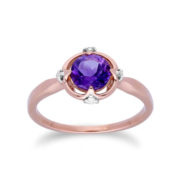Gemondo 9ct Rose Gold Halo Amethyst & Diamond Round Cut Ring Image 1