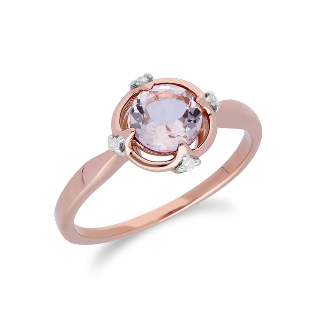 Gemondo 9ct Rose Gold Halo Morganite & Diamond Round Cut Ring Image 2