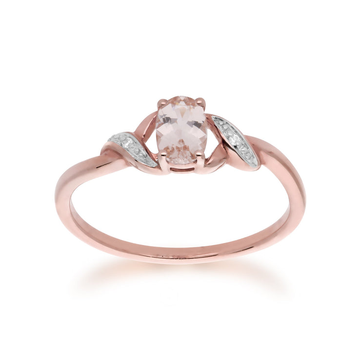 Oval Morganite and Diamond Ring Image 1