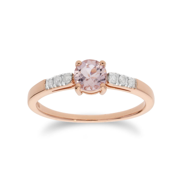 Round Morganite and Diamond Ring Image 1