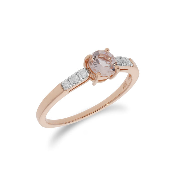 Round Morganite and Diamond Ring Image 2
