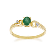 Emerald and Diamond Dress Ring Image 1