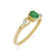 Emerald and Diamond Dress Ring Image 2