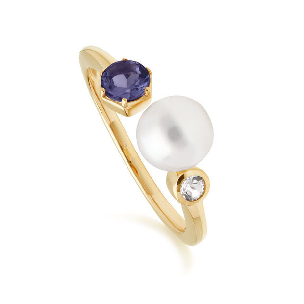 Modern Pearl, Tanzanite & Topaz Open Ring in Gold Plated Sterling Silver